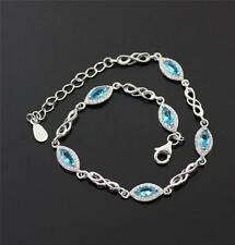 Pretty Solid 925 Sterling Silver, Blue Topaz,CZ Bracelet/ Bangle jewellery + box