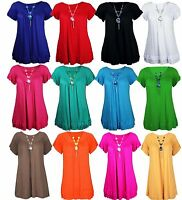 Ladies Plus Size Frill Necklace Womens Short Sleeve Long V Neck Top 16 - 28 30