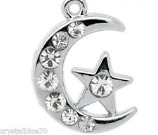 2 x Moon & Star Charm Pendants Silver Tone With Clear Rhinestones 20x14mm Pair