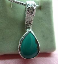 Handcrafted Genuine  Natural Turquoise Stones Sterling Silver 925 Pendant N16