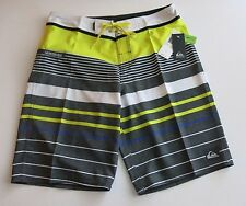 Quiksilver Mens 32 Yellow Charcoal White Stripe Board Shorts Hawaii NWT Stretch