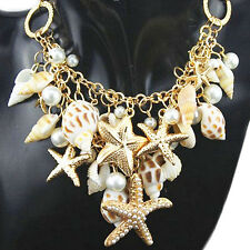 Women's Fashion Ocean Sea Shell Faux Pearl Starfish Layered Statement Necklace