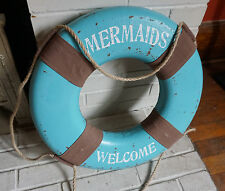 MERMAIDS WELCOME LIFE SAVER PRESERVER RING Nautical Beach Home Decor Sign NEW