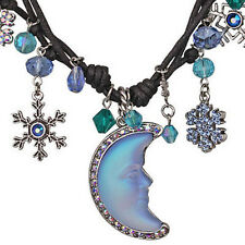 KIRKS FOLLY SNOWFLAKE SEAVIEW MOONGLOW CORDED NECKLACE silvertone Moon Glow