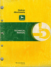 JOHN DEERE HORICON ATTACHMENTS TILLERS BLOWERS BHOES TECHNICAL MANUAL jd