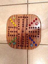 "13 "" WALNUT STAINED TRAVEL WOODEN OAK AGGRAVATION MARBLE GAME BOARD 4-PLAYER NEW"