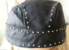 NEW Diamond Plate Genuine Leather Skull Cap with Chrome Studs  Motorcycle Attire