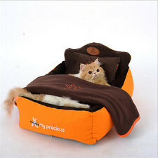Luxury Dog Beds, Designer Pet Beds with Cozy Pillow & Blanket  for Dog & Cat