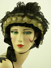 VINTAGE HAT 1890s FRENCH ORIGINAL ALENCON LACE, VELVET, GLASS BEADWORK & RIBBON