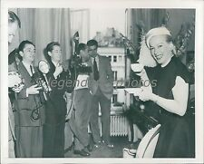1951 TV Star Faye Emerson Lifts Cup by Cameras Original News Service Photo