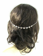 Silver Diamante Headpiece Bridal Hair Vine Clip Chain Headband Wedding Vtg 1035