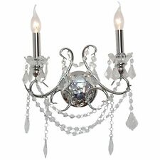 French Cut Glass Chrome Double Wall Light Chandelier Sconce