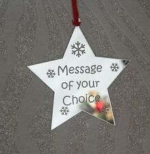 Personalised Babies 1st/First Christmas Star Decoration SILVER MIRROR