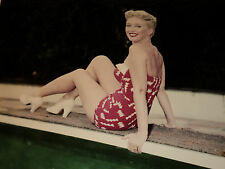 CELESTE HOLM SITTING ON DIVING BOARD /  8 X 10  COLOR  PIN-UP  PHOTO