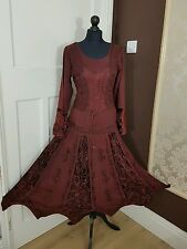 Long Rayon&Velvet Gothic Burgundy elasticated back laceup fullsleeve 12 14 16 18