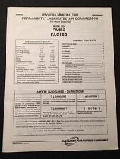 DeVilbiss Permanently Lubricated Air Compressor Owners Manual FA153 FAC153