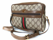 Auth GUCCI GG Pattern PVC Canvas Leather Browns Cross-Body Shoulder Bag GS4860L