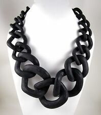"RARA AVIS IRIS APFEL BIG FREEFORM 24"" LINK BLACK RESIN STATEMENT NECKLACE"
