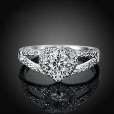 Silver Plated Rhinestone Crystal Love Heart Ring Bridal Wedding Party Gift Size9