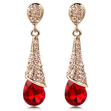 Fashion Womens Diamond Long Water Drop Crystal Dangle Stud Earrings Jewellery