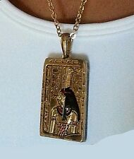 Egyptian Jewelry Goddess of Justice Maat Enamel Pendant with 24 inch Chain #J212