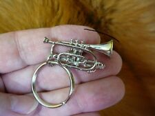 (M-204-C) Boosey Hawkes CORNET KEYCHAIN JEWELRY silver horn ring key chain