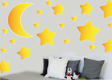 Childrens Moon and Stars - 36 Pack - Wall Art Stickers Easy Peel & Stick Decals