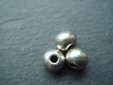 50 smooth silver 5mm round solid spacer beads (lead free) Tibetan style