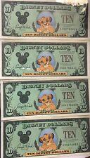 Disney Dollars - Simba  Four (4)  Series 1997 Ten Dollars Consecutive SN's