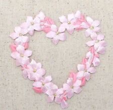 Iron On Embroidered Applique Patch - Flower Heart Ring - Small Pink