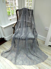 "SALE! BEAUTIFUL 58""X72"" IMMAC (NEW) FRENCH COTTON MIX GREY LACE/NET CURTAINS"