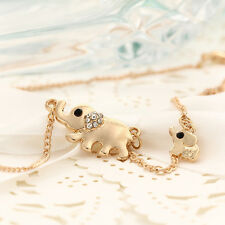 Korean Elephant Pendant Chain Long Necklace Chic Gold Filled Crystal statement
