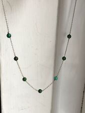 Hallmark 9ct White Gold Turquoise Beads Gold Necklace