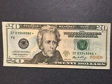 $20 Dollars Bill - Star Note, # IF03949980* Federal Reserve Note, Series 2006