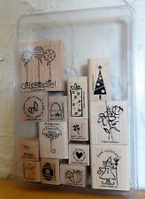 2004 Stampin Up TAG TIME 14 pc RUBBER INK STAMP SET Holiday Tag Label Themes