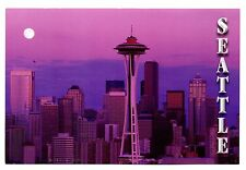 Seattle Evening Skyline Washington Postcard Space Needle Skyscrapers New Moon