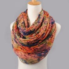 Women Lady Mixed Color Floral Pattern Voile Soft Shawl Wrap Wraps Scarf Scarves