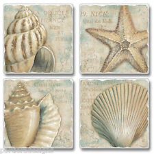 Mixed Absorbent Stone Coasters Set 4 La Plage French Beach Sea Shells Starfish