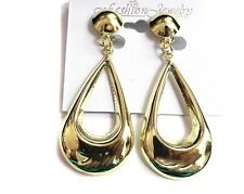 CLIP-ON EARRINGS TEARDROP HOOP EARRINGS GOLD TONE LIGHTWEIGHT HOOPS 2.5 IN LONG