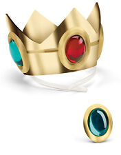 Girls Nintendo Super Mario Brothers Princess Peach Costume Crown and Amulet