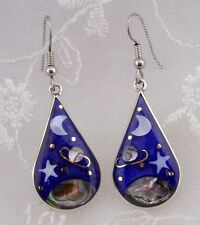 Alpaca Mexican Silver Enamel Shell Night Skies Earrings Fashion Jewelry NEW
