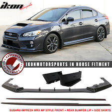 Fits 15-17 Subaru Impreza WRX STI MP Style Front + Rear Bumper Lip + Side Skirt