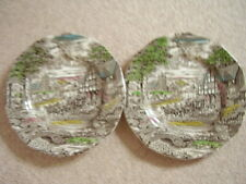 Wedgwood England porcelain big  round dish-plate,Dickens Coaching Day,set of 2
