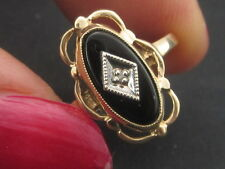 10K Gold Black Onyx Gemstone Gem with Diamond Accent Ring Size 6
