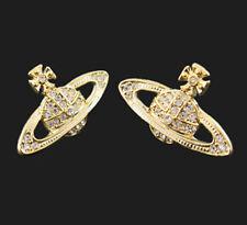 2015 Vivienne Westwood Gold Color Earrings Saturn Box + Bag