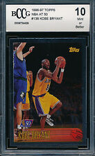 KOBE BRYANT 1996-97 TOPPS NBA AT 50 BCCG 10 ROOKIE CARD #138 CHROME FOIL BGS/PSA