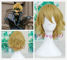 Miraculous Ladybug Adrien Cat Noir Short Yellow blonde Cosplay wig +a wig cap