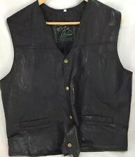 South West territory men's  western black leather patchwork vest