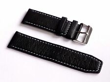 Replacement Men's Quality Lug 22mm Black Genuine Leather Strap For Nautica*