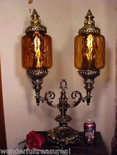Vintage DOUBLE AMBER GLASS LAMP ORNATE Metal Table Lamp Hollywood Regency FAB